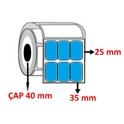 Mavi Renkli 35 mm x 25 mm YY3 LÜ Barkod Etiketi ÇAP 40 mm ( 6 Rulo )