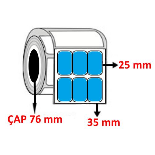 Mavi Renkli 35 mm x 25 mm YY3LÜ Barkod Etiketi ÇAP 76 mm ( 6 Rulo )