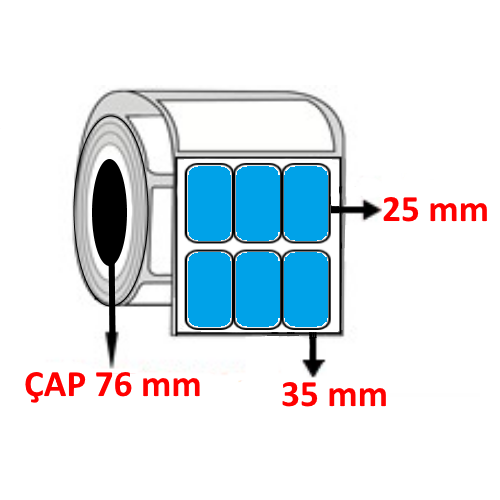 Mavi Renkli 35 mm x 25 mm YY3LÜ Barkod Etiketi ÇAP 76 mm ( 6 Rulo ) 60.000 ADET