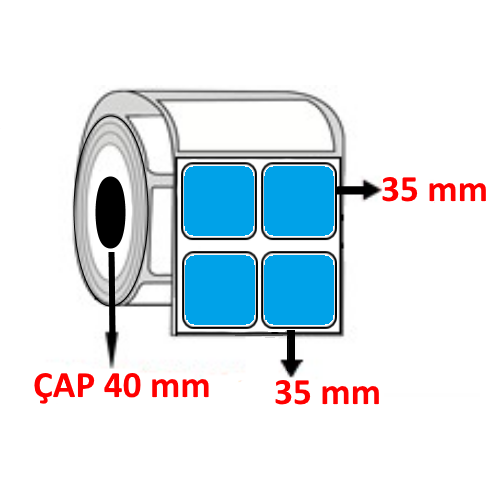Mavi Renkli 35 mm x 35 mm YY2 Lİ Barkod Etiketi ÇAP 40 mm ( 6 Rulo )