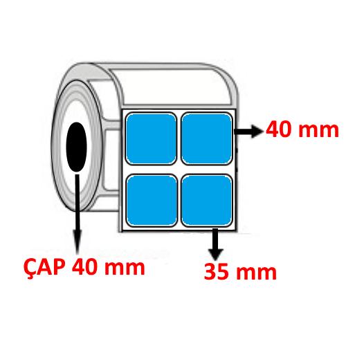 Mavi Renkli 35 mm x 40 mm YY2 Lİ Barkod Etiketi ÇAP 40 mm ( 6 Rulo ) 18.000 ADET