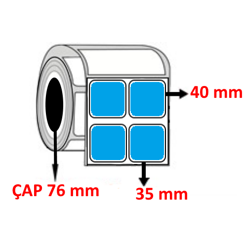 Mavi Renkli 35 mm x 40 mm YY2 Lİ Barkod Etiketi ÇAP 76 mm ( 6 Rulo ) 36.000 ADET