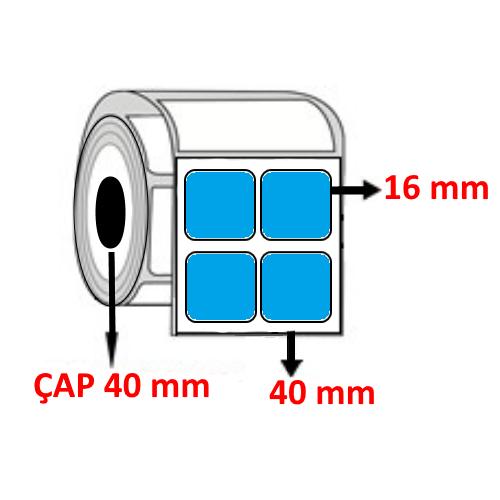 Mavi Renkli 40 mm x 16 mm YY2 Lİ Barkod Etiketi ÇAP 40 mm ( 6 Rulo )