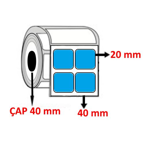 Mavi Renkli 40 mm x 20 mm YY2 Lİ Barkod Etiketi ÇAP 40 mm ( 6 Rulo ) 24.000 ADET