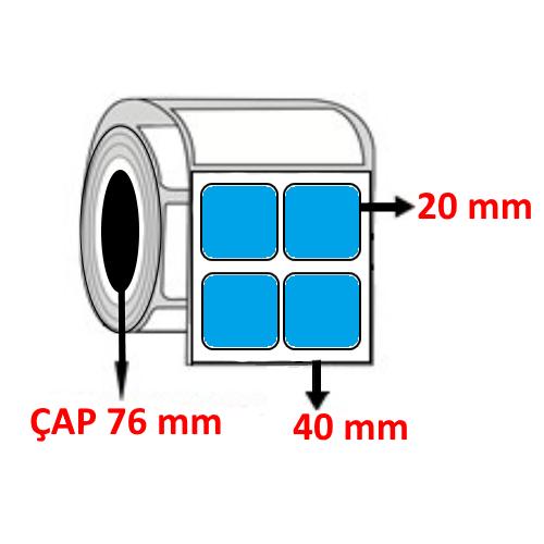 Mavi Renkli 40 mm x 20 mm YY2 Lİ Barkod Etiketi ÇAP 76 mm ( 6 Rulo )