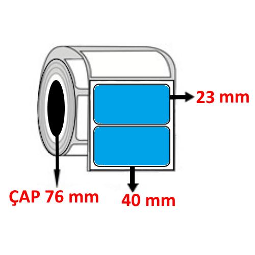 Mavi Renkli 40 mm x 23 mm Barkod Etiketi ÇAP 76 mm ( 6 Rulo ) 30.000 ADET