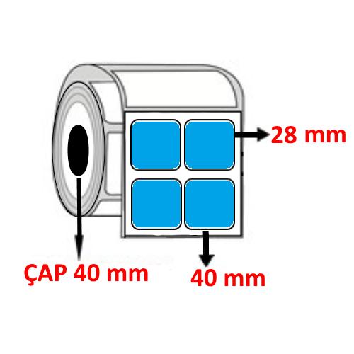 Mavi Renkli 40 mm x 28 mm YY2 Lİ Barkod Etiketi ÇAP 40 mm ( 6 Rulo )