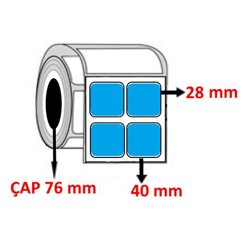 Mavi Renkli 40 mm x 28 mm YY2 Lİ Barkod Etiketi ÇAP 76 mm ( 6 Rulo )  54.000 ADET