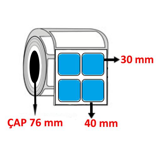 Mavi Renkli 40 mm x 30 mm YY2 Lİ Barkod Etiketi ÇAP 76 mm ( 6 Rulo )