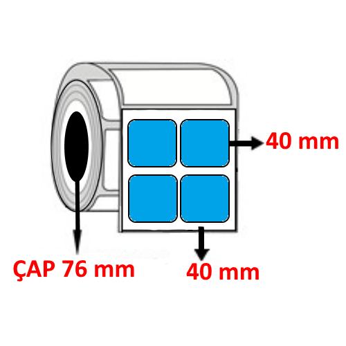 Mavi Renkli 40 mm x 40 mm YY2 Lİ Barkod Etiketi ÇAP 76 mm ( 6 Rulo )