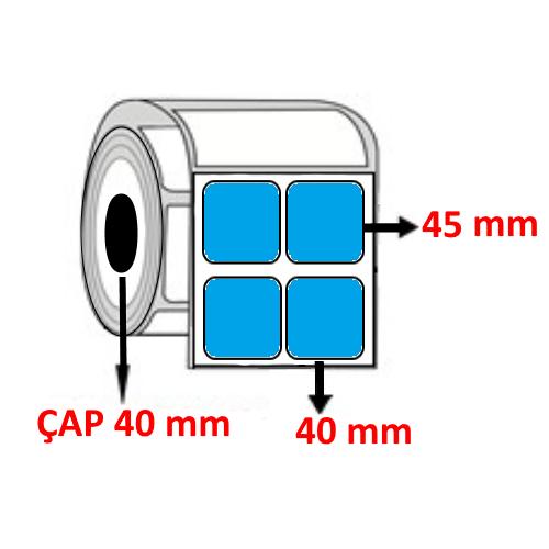Mavi Renkli 40 mm x 45 mm YY2 Lİ Barkod Etiketi ÇAP 40 mm ( 6 Rulo )  12.000 ADET