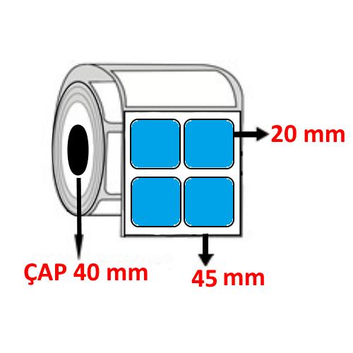 Mavi Renkli 45 mm x 20 mm YY2 Lİ Barkod Etiketi ÇAP 40 mm ( 6 Rulo )  24.000 ADET