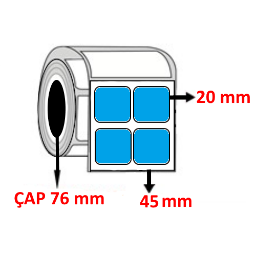Mavi Renkli 45 mm x 20 mm YY2 Lİ Barkod Etiketi ÇAP 76 mm ( 6 Rulo )