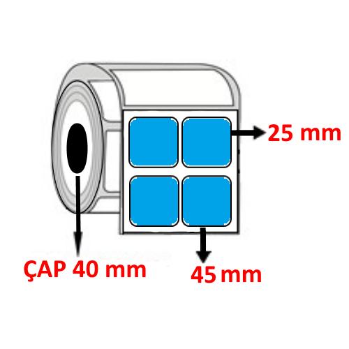 Mavi Renkli 45 mm x 25 mm YY2 Lİ Barkod Etiketi ÇAP 40 mm ( 6 Rulo ) 18.000 ADET