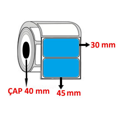 Mavi Renkli 45 mm x 30 mm Barkod Etiketi ÇAP 40 mm ( 6 Rulo )