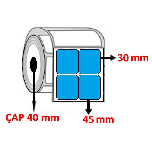 Mavi Renkli 45 mm x 30 mm YY2 Lİ Barkod Etiketi ÇAP 40 mm ( 6 Rulo )