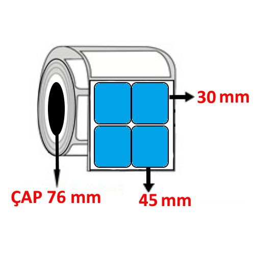 Mavi Renkli 45 mm x 30 mm YY2 Lİ Barkod Etiketi ÇAP 76 mm ( 6 Rulo )