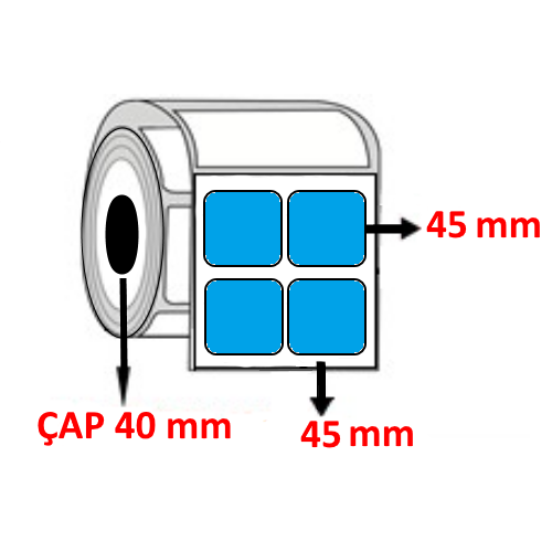 Mavi Renkli 45 mm x 45 mm YY2 Lİ Barkod Etiketi ÇAP 40 mm ( 6 Rulo )