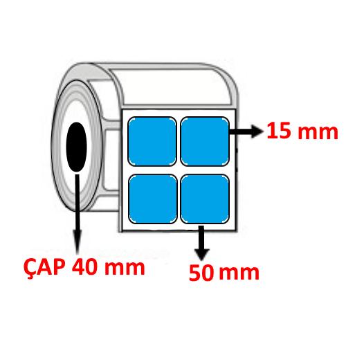 Mavi Renkli 50 mm x 15 mm YY2 Lİ Barkod Etiketi ÇAP 40 mm ( 6 Rulo ) 24.000 ADET