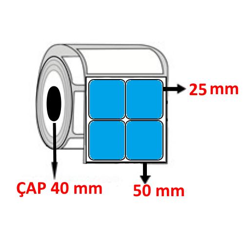 Mavi Renkli 50 mm x 25 mm YY2 Lİ Barkod Etiketi ÇAP 40 mm ( 6 Rulo ) 18.000 ADET