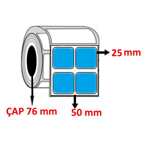 Mavi Renkli 50 mm x 25 mm YY2 Lİ Barkod Etiketi ÇAP 76 mm ( 6 Rulo ) 60.000 ADET