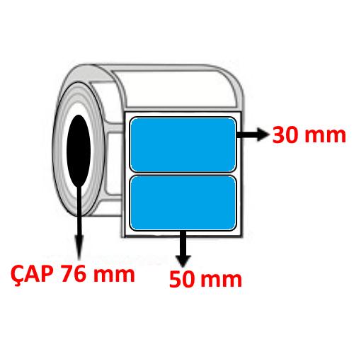 Mavi Renkli 50 mm x 30 mm Barkod Etiketi ÇAP 76 mm ( 6 Rulo )