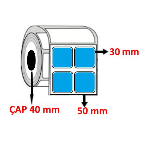 Mavi Renkli 50 mm x 30 mm YY2 Lİ Barkod Etiketi ÇAP 40 mm ( 6 Rulo ) 18.000 ADET