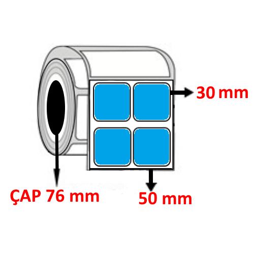 Mavi Renkli 50 mm x 30 mm YY2 Lİ Barkod Etiketi ÇAP 76 mm ( 6 Rulo ) 54.000 ADET
