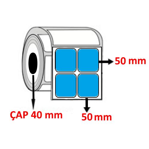Mavi Renkli 50 mm x 50 mm YY2 Lİ Barkod Etiketi ÇAP 40 mm ( 6 Rulo ) 12.000 ADET
