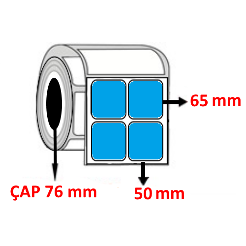 Mavi Renkli 50 mm x 65 mm YY2 Lİ Barkod Etiketi ÇAP 76 mm ( 6 Rulo )