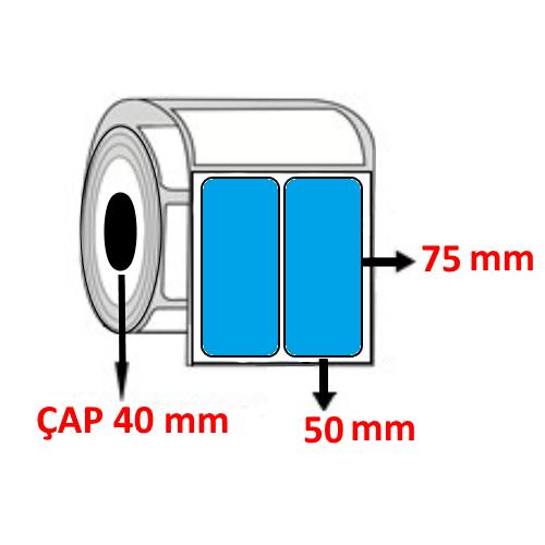 Mavi Renkli 50 mm x 75 mm YY2 Lİ Barkod Etiketi ÇAP 40 mm ( 6 Rulo ) 6.000 ADET