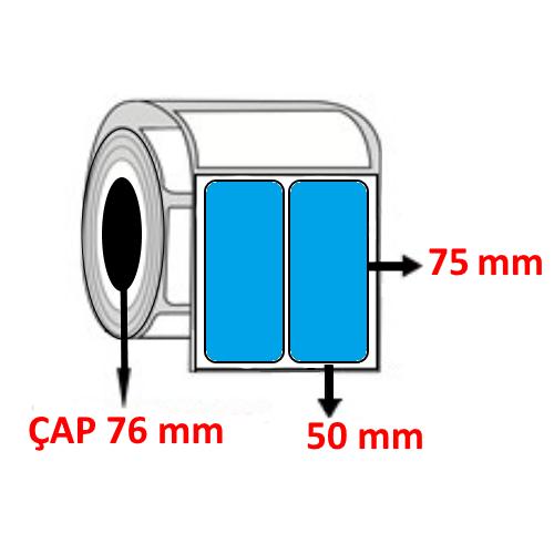 Mavi Renkli 50 mm x 75 mm YY2 Lİ Barkod Etiketi ÇAP 76 mm ( 6 Rulo ) 24.000 ADET