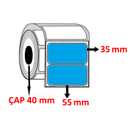 Mavi Renkli 55 mm x 35 mm Barkod Etiketi ÇAP 40 mm ( 6 Rulo )