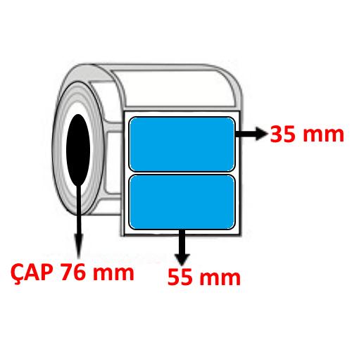 Mavi Renkli 55 mm x 35 mm Barkod Etiketi ÇAP 76 mm ( 6 Rulo ) 27.000 ADET