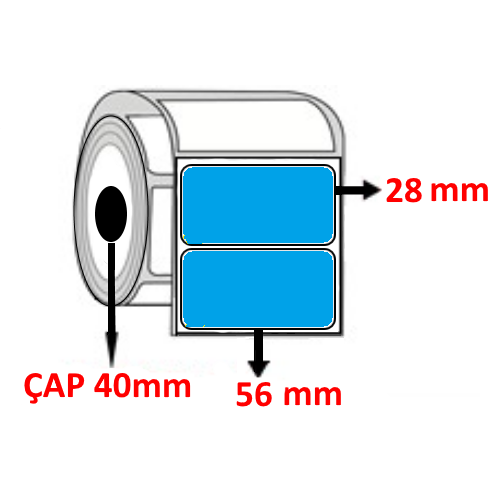 Mavi Renkli 56 mm x 28 mm Barkod Etiketi ÇAP 40 mm ( 6 Rulo )