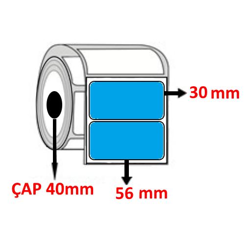 Mavi Renkli 56 mm x 30 mm Barkod Etiketi ÇAP 40 mm ( 6 Rulo ) 9.000 ADET