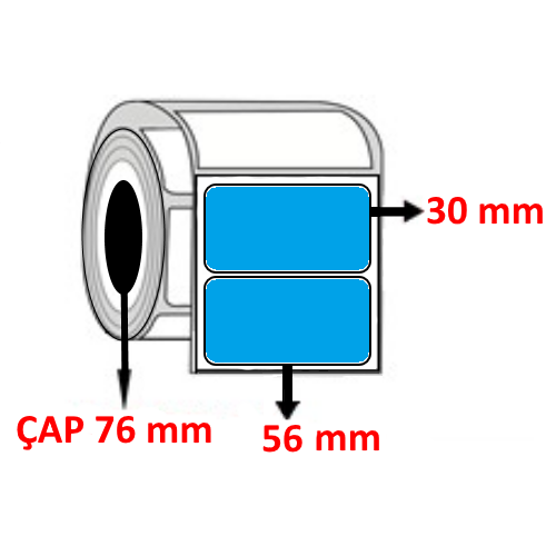 Mavi Renkli 56 mm x 30 mm Barkod Etiketi ÇAP 76 mm ( 6 Rulo ) 30.000 ADET