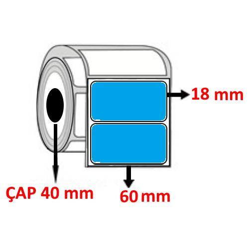 Mavi Renkli 60 mm x 18 mm Barkod Etiketi ÇAP 40 mm ( 6 Rulo )