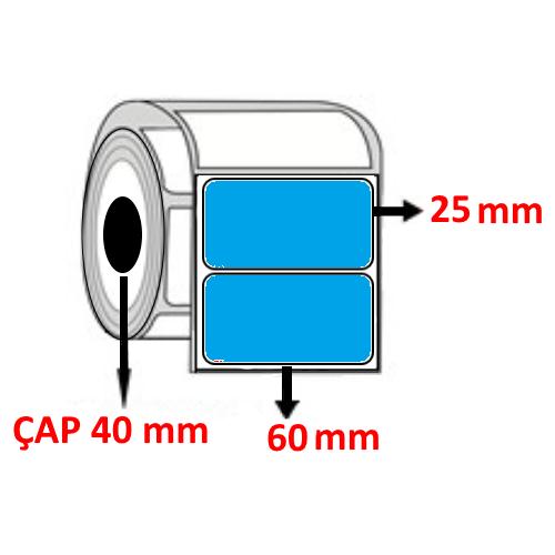 Mavi Renkli 60 mm x 25 mm Barkod Etiketi ÇAP 40 mm ( 6 Rulo )