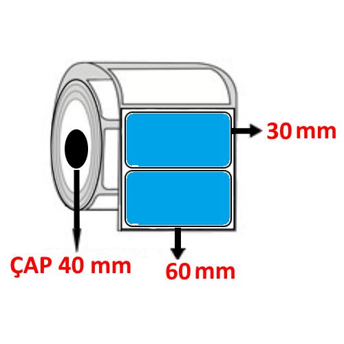 Mavi Renkli 60 mm x 30 mm Barkod Etiketi ÇAP 40 mm ( 6 Rulo )
