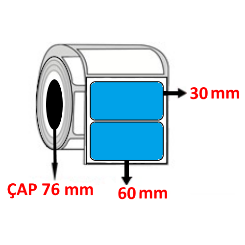 Mavi Renkli 60 mm x 30 mm Barkod Etiketi ÇAP 76 mm ( 6 Rulo )