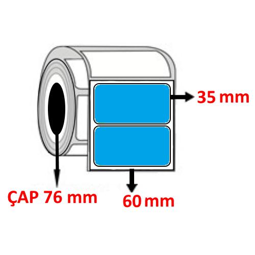 Mavi Renkli 60 mm x 35 mm Barkod Etiketi ÇAP 76 mm ( 6 Rulo )