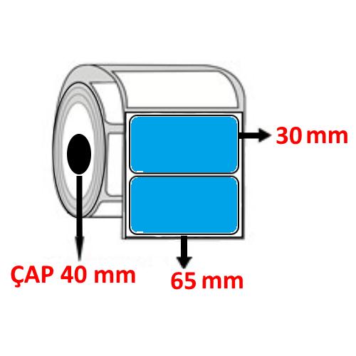 Mavi Renkli 65 mm x 30 mm Barkod Etiketi ÇAP 40 mm ( 6 Rulo ) 10.500 ADET