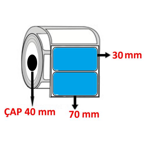 Mavi Renkli 70 mm x 30 mm Barkod Etiketi ÇAP 40 mm ( 6 Rulo ) 9.000 ADET
