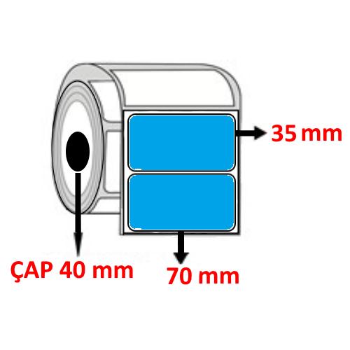 Mavi Renkli 70 mm x 35 mm Barkod Etiketi ÇAP 40 mm ( 6 Rulo ) 9.000 ADET