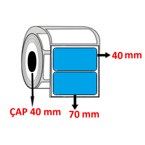 Mavi Renkli 70 mm x 40 mm Barkod Etiketi ÇAP 40 mm ( 6 Rulo ) 7.500 ADET