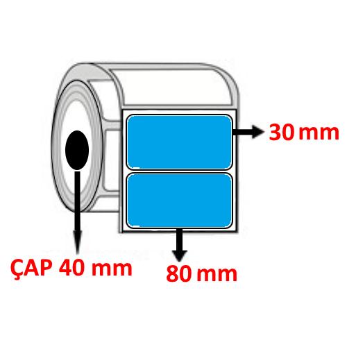 Mavi Renkli 80 mm x 30 mm Barkod Etiketi ÇAP 40 mm ( 6 Rulo )