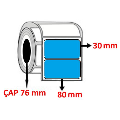 Mavi Renkli 80 mm x 30 mm Barkod Etiketi ÇAP 76 mm ( 6 Rulo )