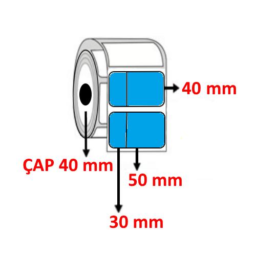 Mavi Renkli 80 mm x 40 mm (30/50) Barkod Etiketi ÇAP 40 mm ( 6 Rulo ) 6.000 ADET