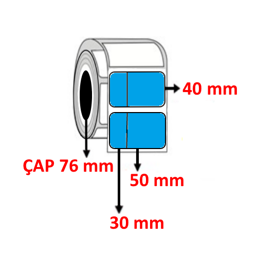 Mavi Renkli 80 mm x 40 mm (30/50) Barkod Etiketi ÇAP 76 mm ( 6 Rulo ) 18.000 ADET